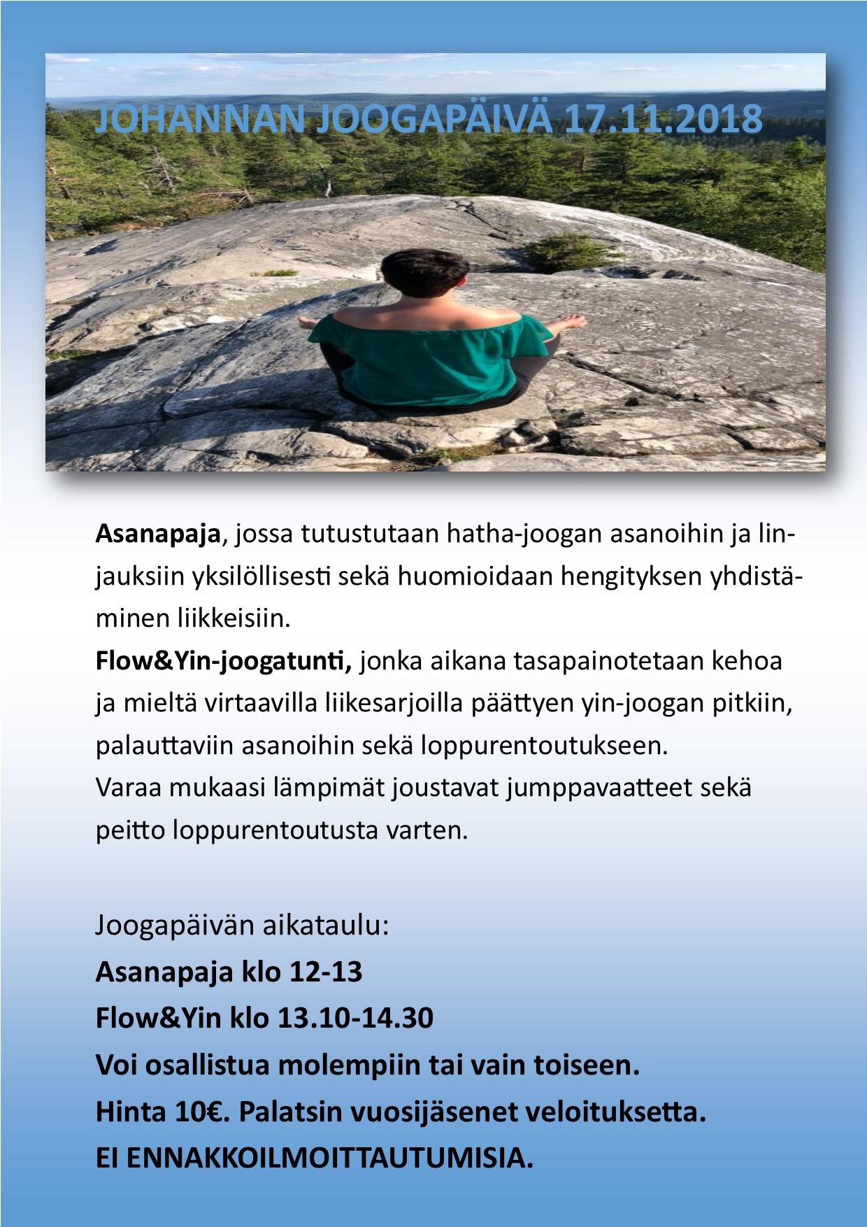 JOHANNAN JOOGAPÄIVÄ 17.11. klo 12 alkaen