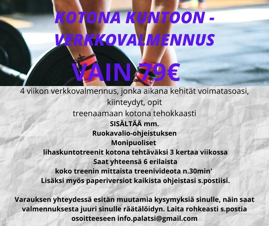 KOTONA KUNTOON -verkkovalmennus VAIN 79€